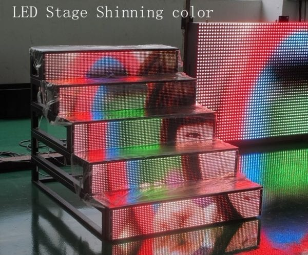 led stairs near stage