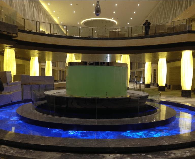Floor Transparent LED curved blue