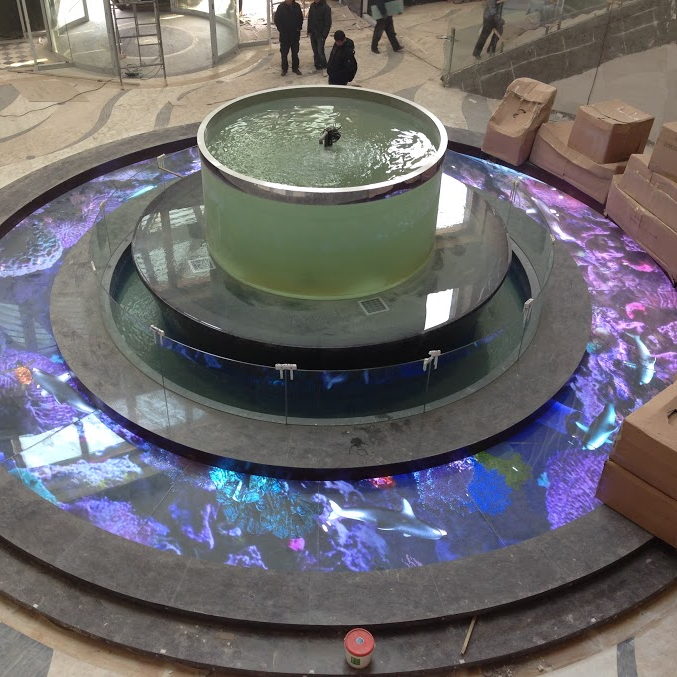 An overview floor transparent led turn on