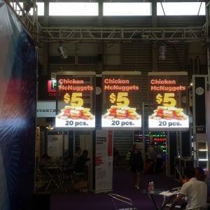 Transparent LED Rental Flexible display chicken Mc Nuggets