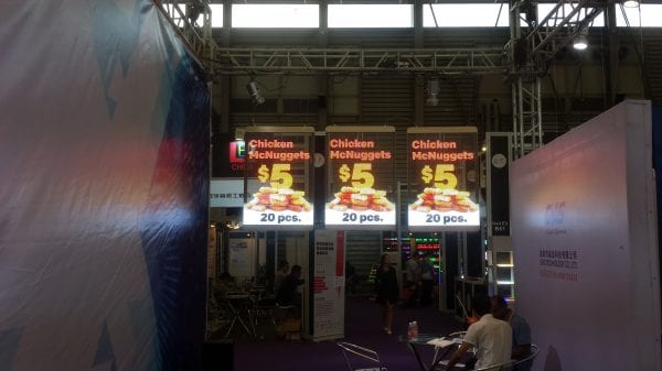 Transparent LED Rental Flexible display chicken Mc Nuggets
