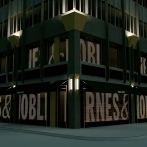 Écran LED transparent pour détail façade magasin Barnes et nobles