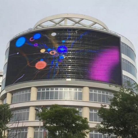 TransparentLED display on big building