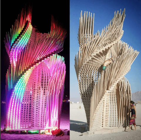 TangentialDreams BurningMan Atristic Structure FlexibleLED Night and Day Light