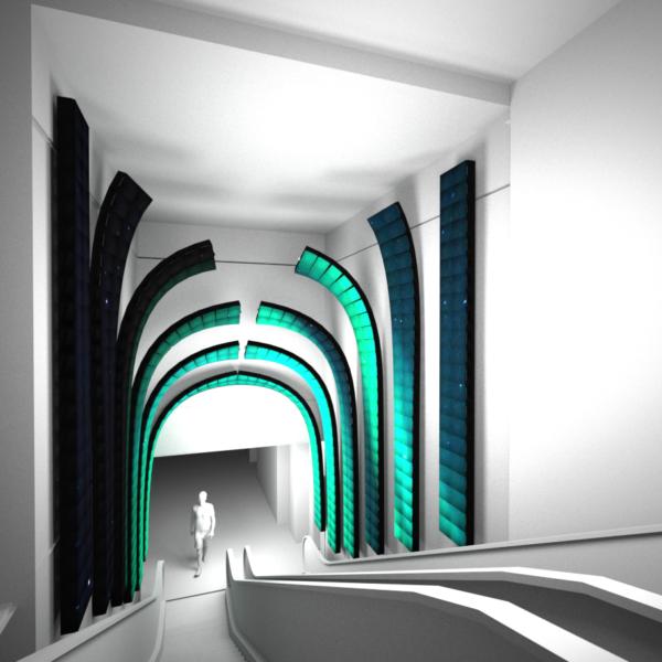 Escalator curved vault flexible led