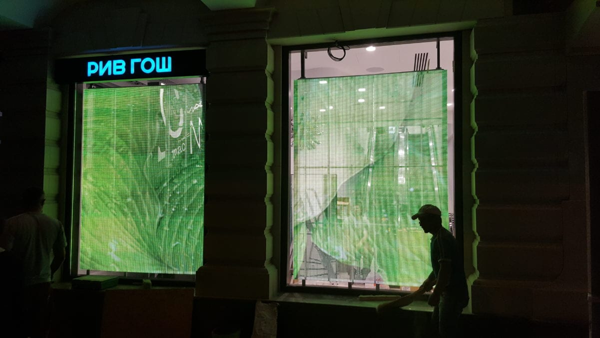 Transparent led showcase display store russia