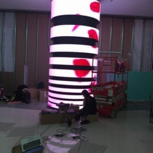 LED flexible bendable column screen display