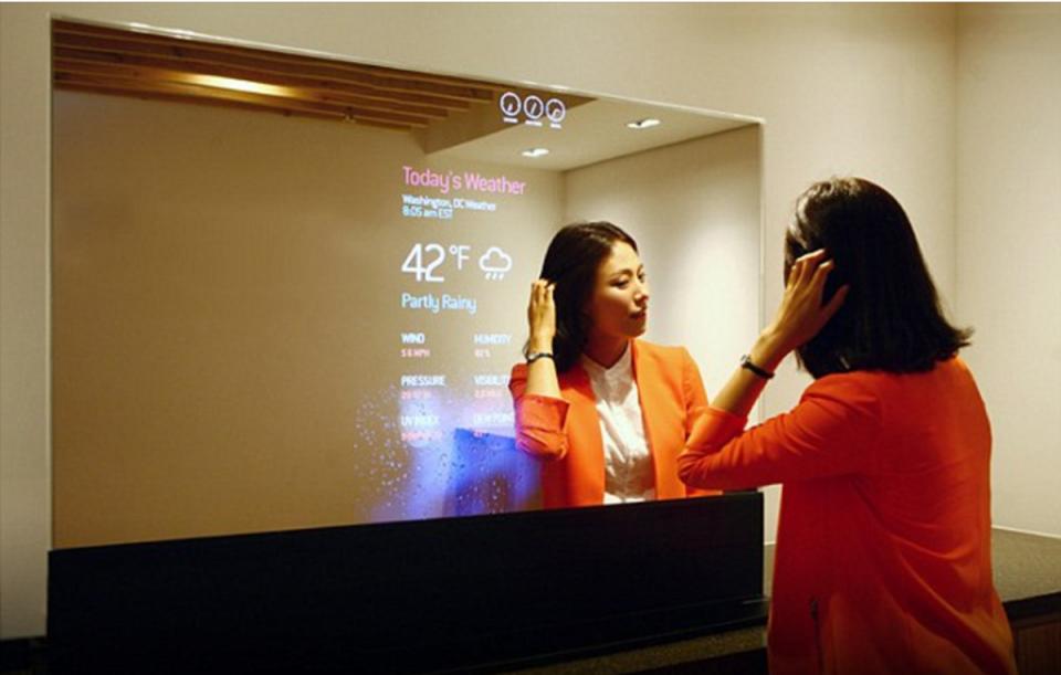 OLED transparent tv led mirror glass transparent