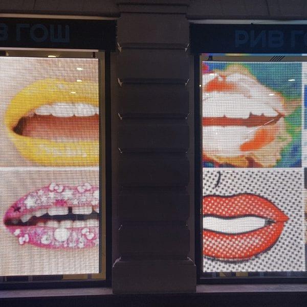 mouth transparent led showcase