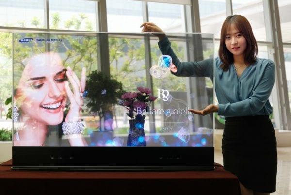 OLED display transparent mirror led screen tv display
