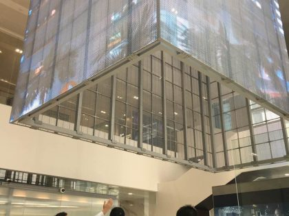 Transparent LED cubic for building hall