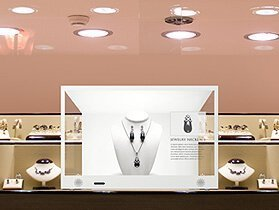 Transparent LCD box for jewelry shop