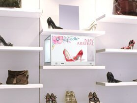 Transparente LCD-Box mit OLED LCO-high-End-Schuhe-shop