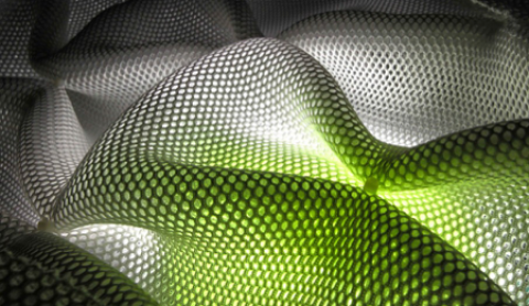 Parametric design form wave green and white