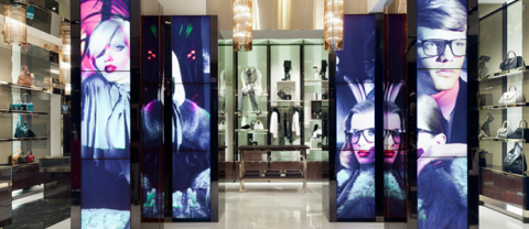 Vertical LED panels retail banner