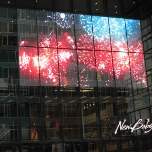 transparent glass led wall display firework