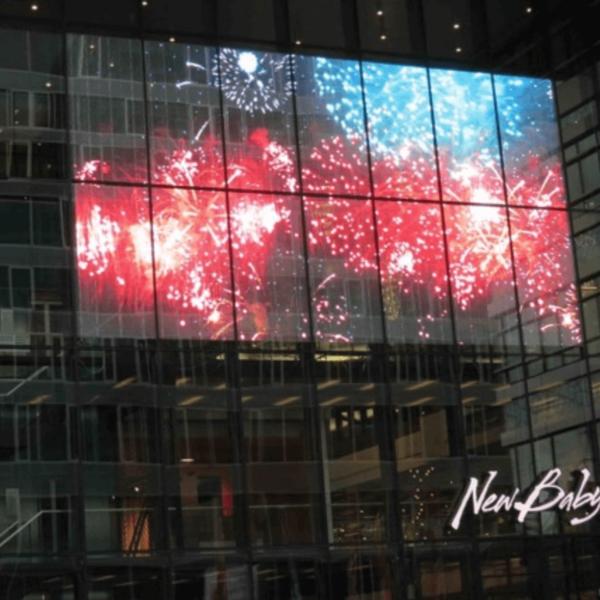 transparent glass led wall display firework