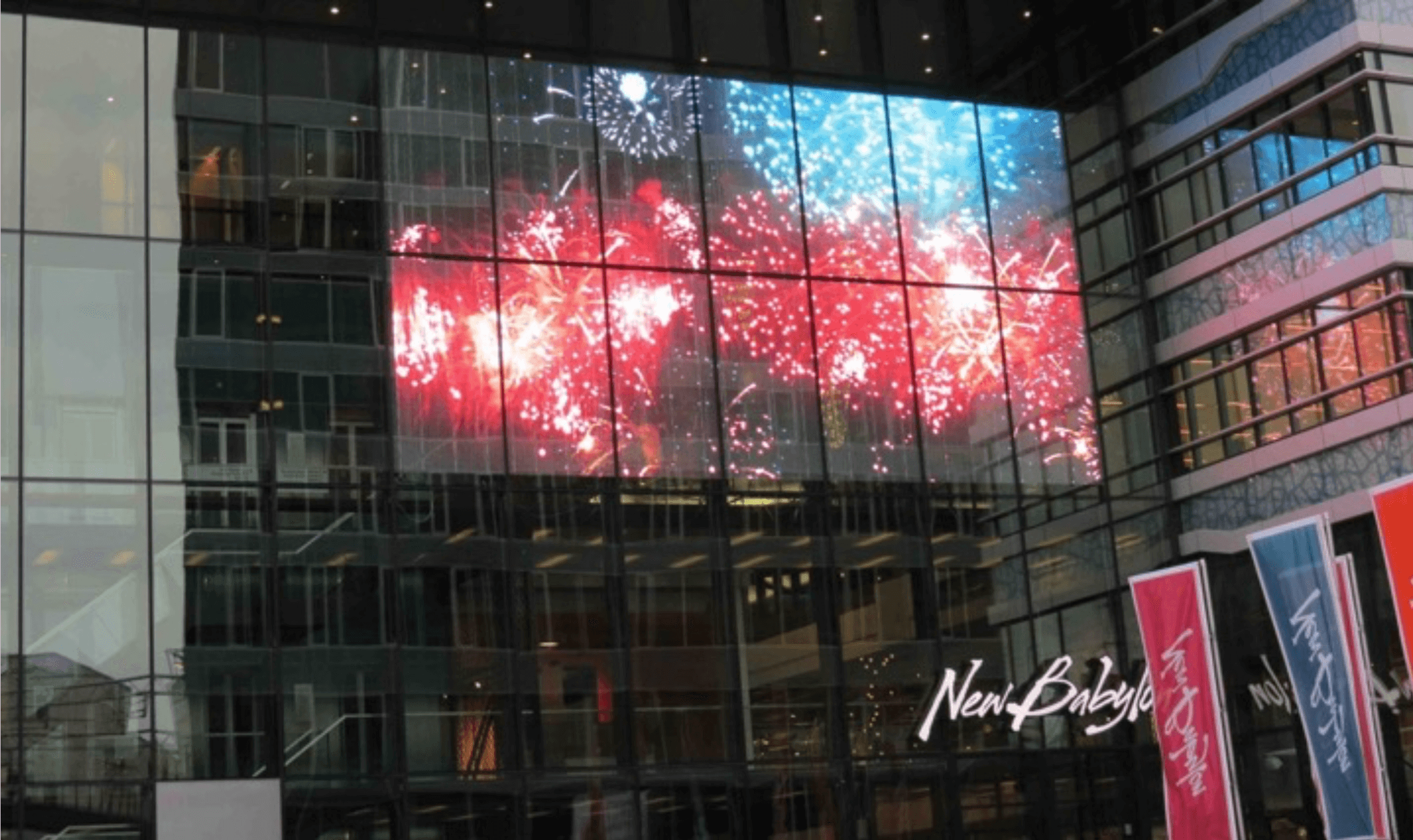 Transparent Indoor Led Panel On Building Facade Street