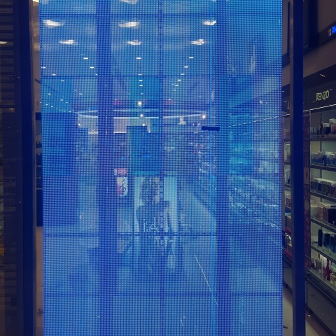 Showcase pannel transparent LED display Blue for Samara russia