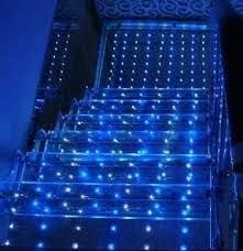 transparent LED film application staircase blue