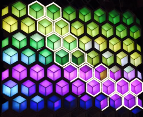 LED display with geometric designs honey