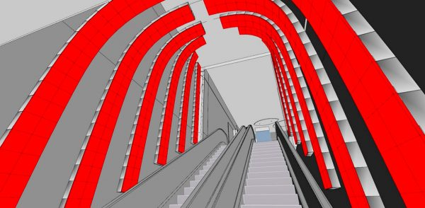 Escalator LED 3D design display indoor architectural