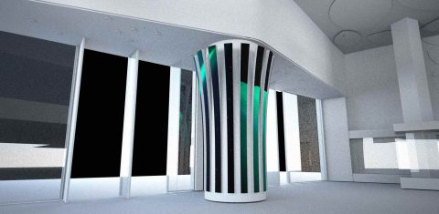 Striped LED screen column for pillars