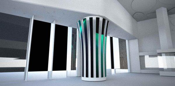 Striped LED screen column for pillars