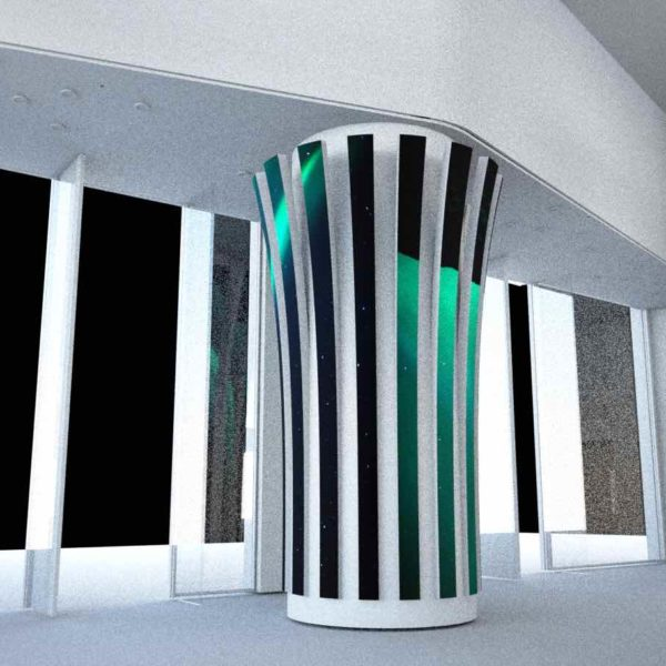 Striped LED screen for pillars