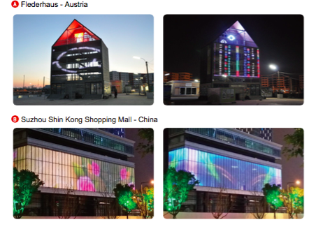 Flexible LED mesh facade building