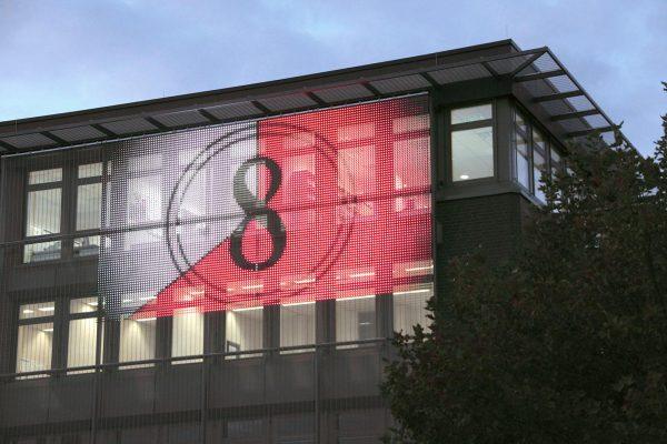 Сетка газа прозрачный LED полоса занавес отображения фасад
