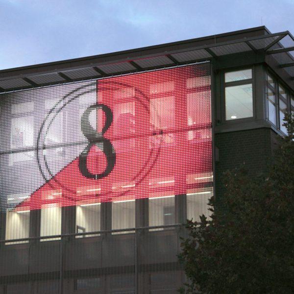 mesh strip transparent LED strip curtain display facade