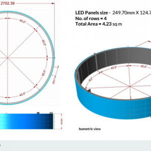 Display a LED Circle Chicago vista isometrica