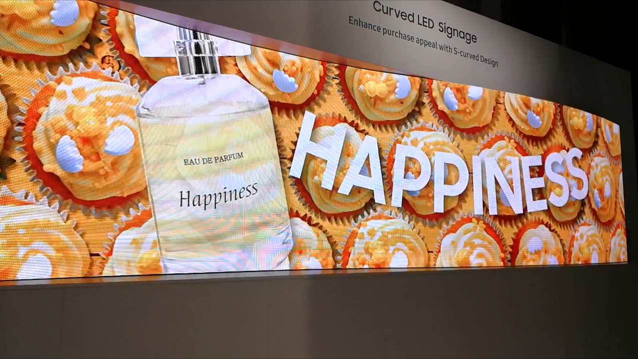 Curved LED screen display Happiness