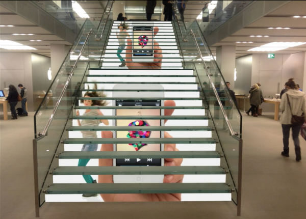LED stairs display apple