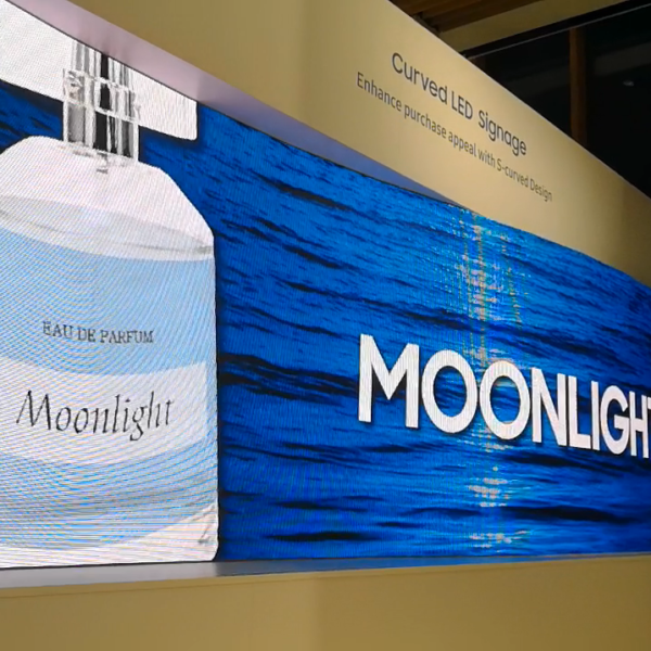 Led screen curved display blue moonlight