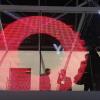 Led transparent display circle red