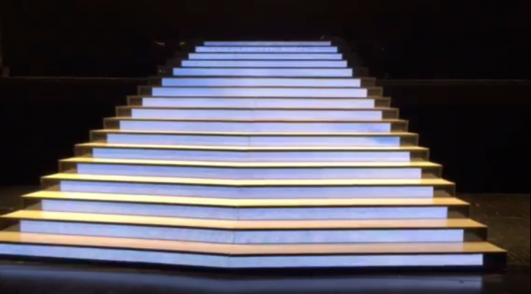 Screen LED stairs blue