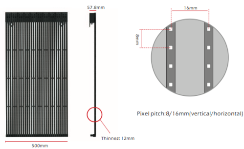 Led mesh dimensioni serie legend
