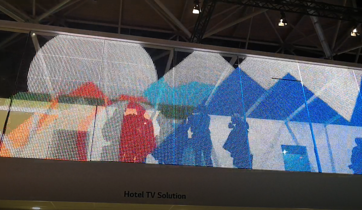 Transparent LED display mountainous landscape