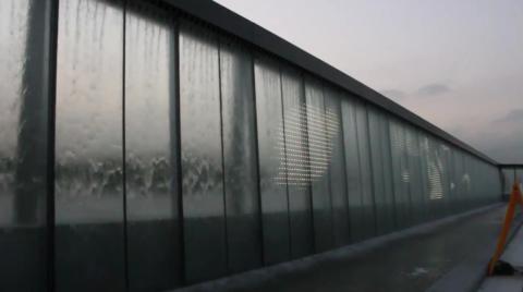Finish installation led wall transparent fountain