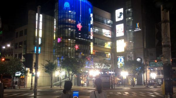 Led facade glass display game