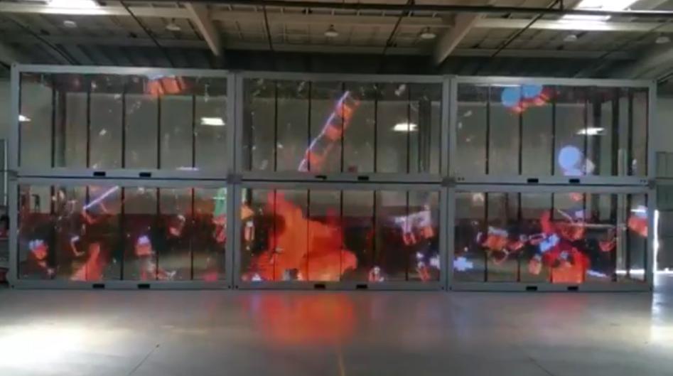 Transparent LED screen panel display fire