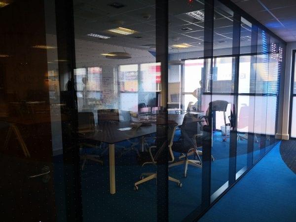 Transparent led inside glass turn off