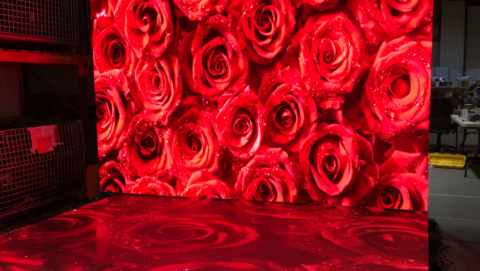 screen 4K and floor LED display red flower