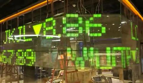 Écran transparent LED stock exchange