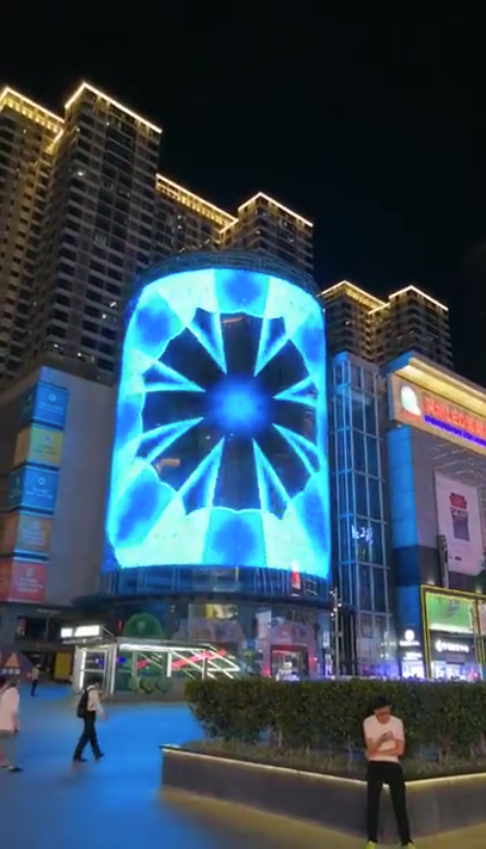 Building facade screen fully transparent LED