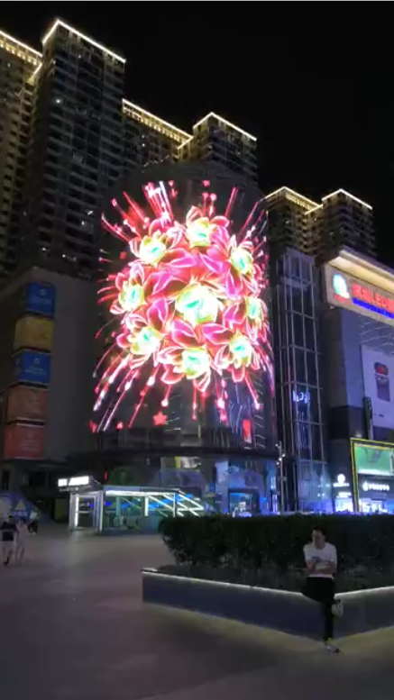 Facade building LED fully transparent display flower