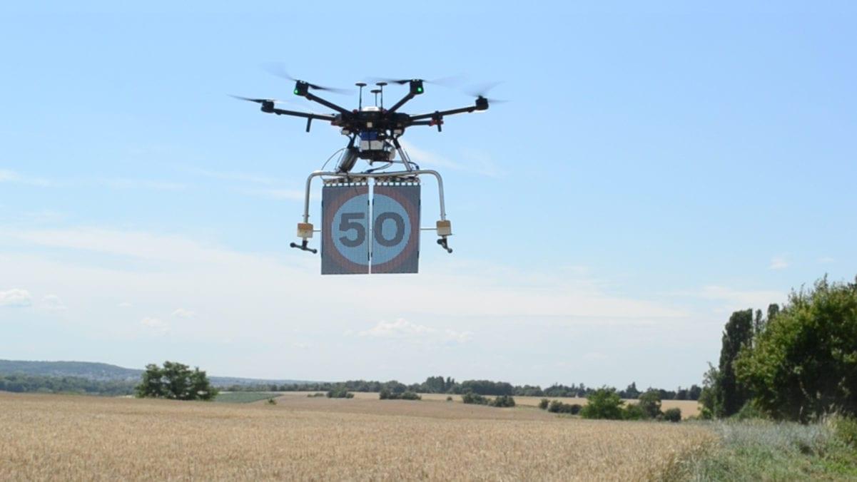 Display transparent LED road sign hanging drone