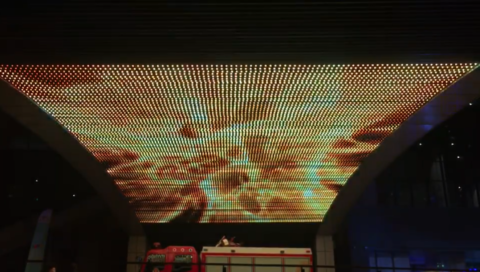 LED Mesh ceiling display fire